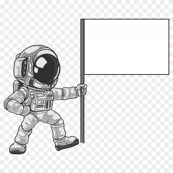 Cartoon astronaut raising flag on the moon on transparent background PNG