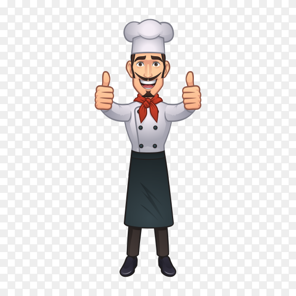 Cartoon chef Giving Thumbs Up on transparent background PNG