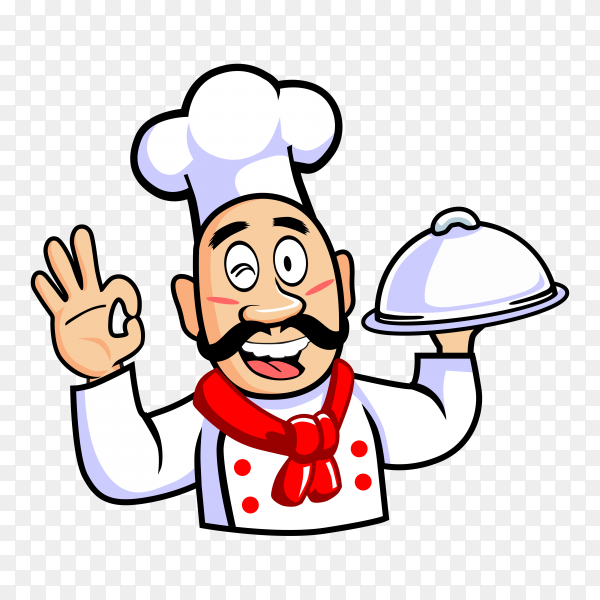 Cartoon chef cook with dish showing thumbs up on transparent background PNG
