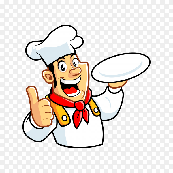 Cartoon chef man with thumb finger on transparent background PNG
