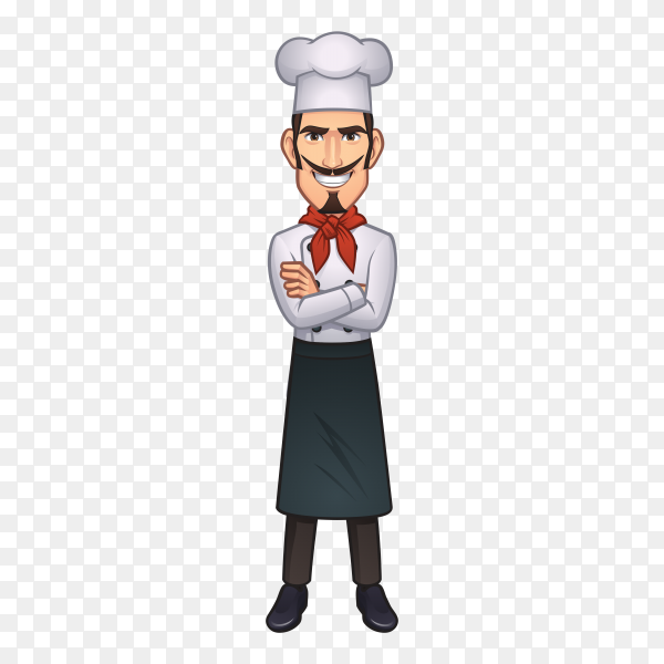 Cartoon chef mascot isolated on transparent background PNG