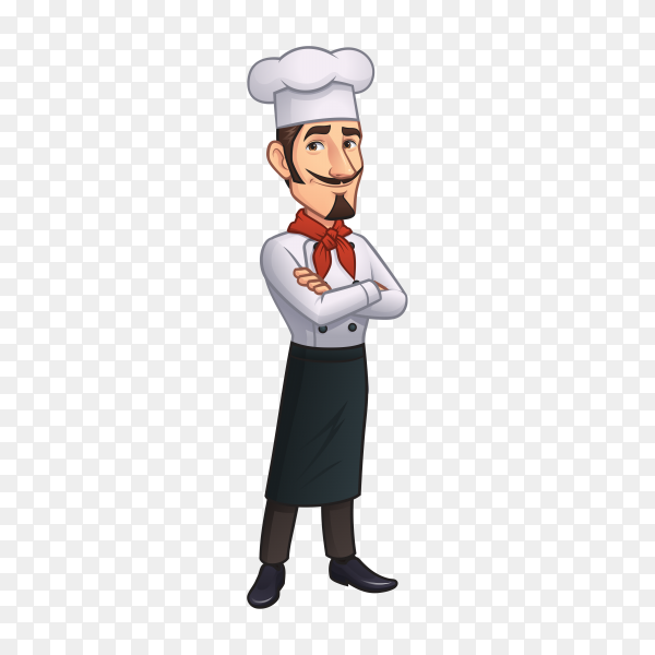 Cartoon chef mascot on transparent background PNG