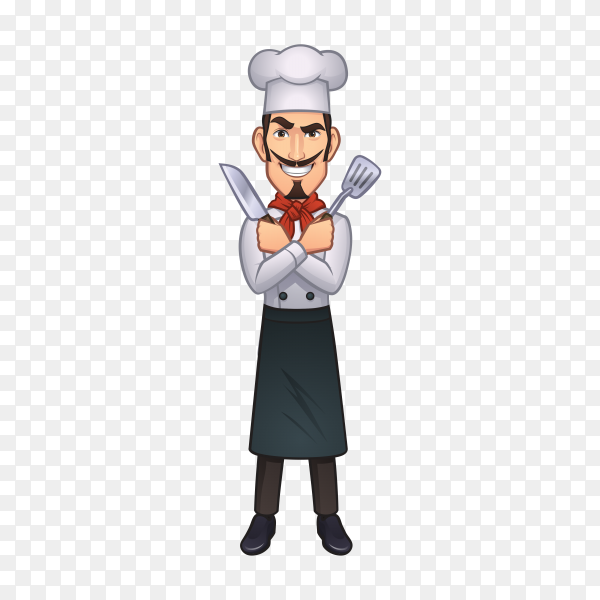 Cartoon chef with spoon smiling on transparent background PNG