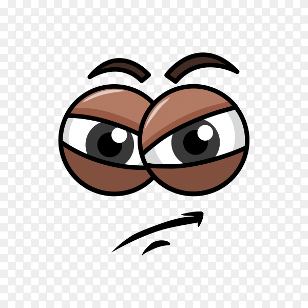 Cartoon emotion with funny face with big eye and laughter on transparent background PNG