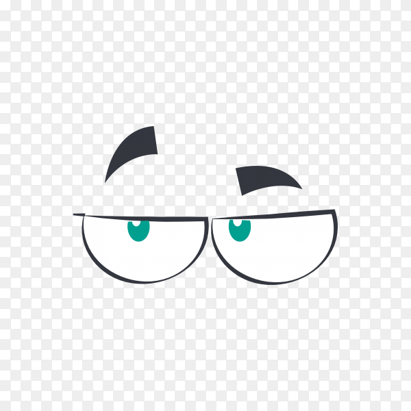 Cartoon eyes emotion character isolated on transparent background PNG