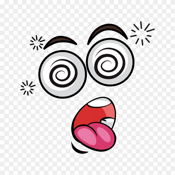 Cartoon face expression on transparent background PNG