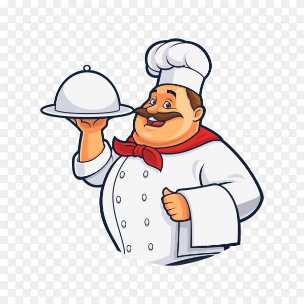 Cartoon fat chef holding tray of food on transparent background PNG