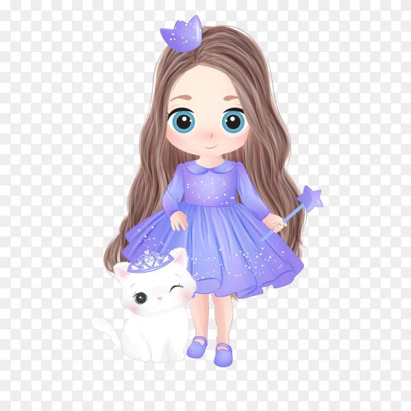 Cartoon girl wearing beautiful dress on transparent background PNG