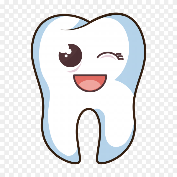 Cartoon human tooth character icon on transparent background PNG