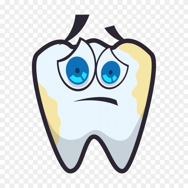 Cartoon sad tooth logo on transparent background PNG.png