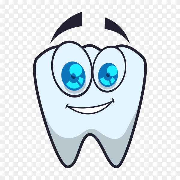 Cartoon smile teeth on transparent background PNG
