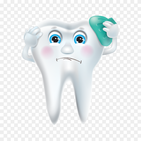 Cartoon tooth hand drawn on transparent background PNG.png