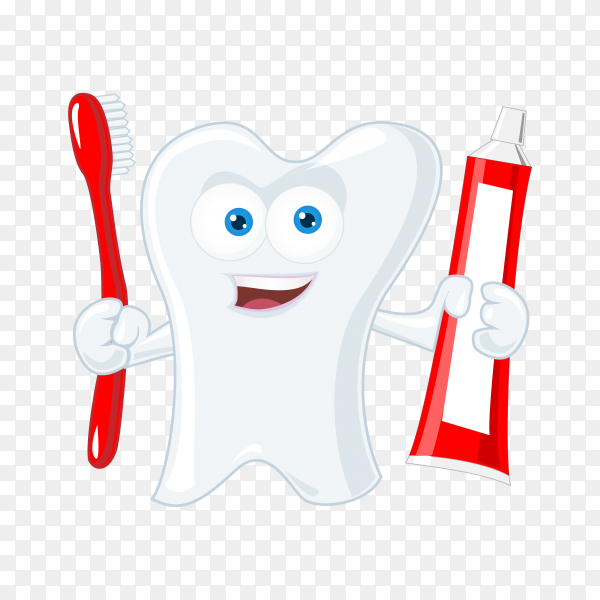 Cartoon tooth holding toothbrush on transparent background PNG.png