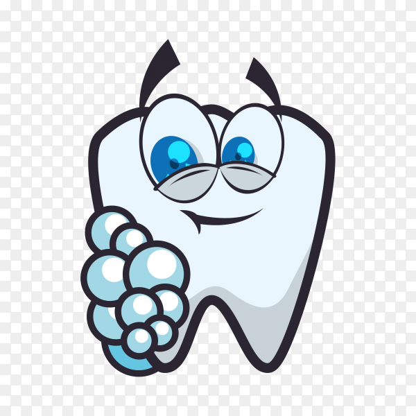 Cartoon tooth icon in flat design on transparent background PNG.png