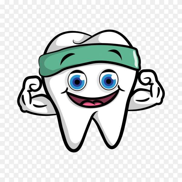 Cartoon tooth in flat design on transparent background PNG.png