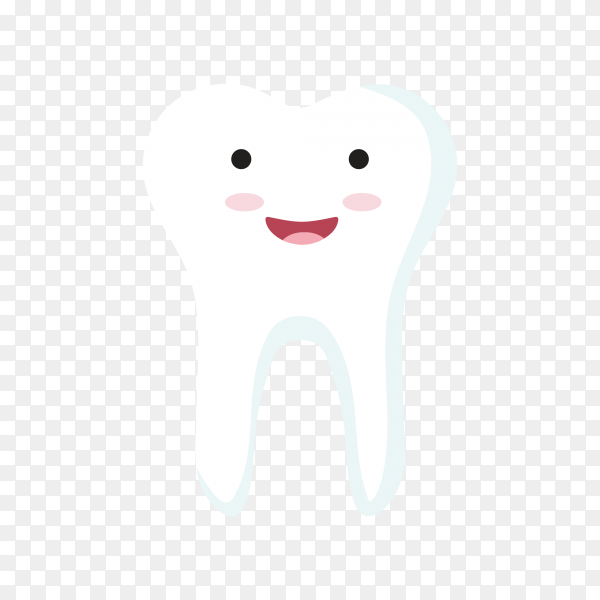 Cartoon tooth in white color on transparent background PNG.png