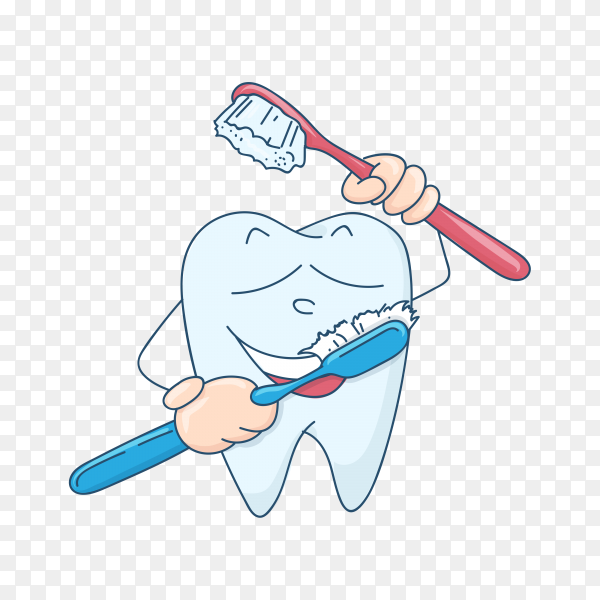 Cartoon tooth isolated on transparent background PNG.png