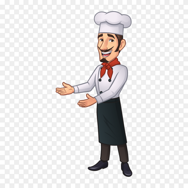 Chef cartoon character illustration on transparent background PNG