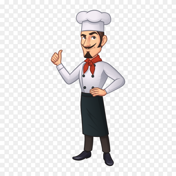 Chef cartoon character isolated on transparent background PNG