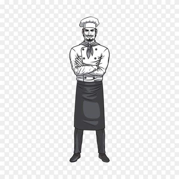 Chef character design on transparent background PNG