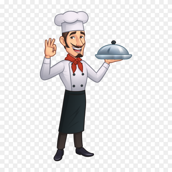 Chef holding tray with food on transparent background PNG