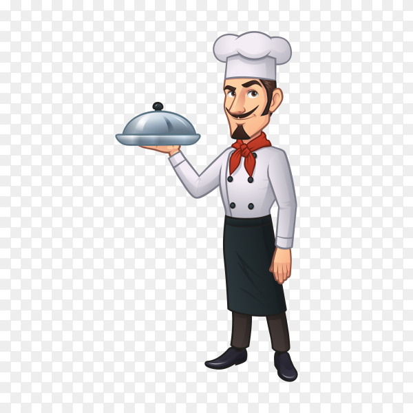 Chef in white uniform holding prepared dish on tray on transparent background PNG