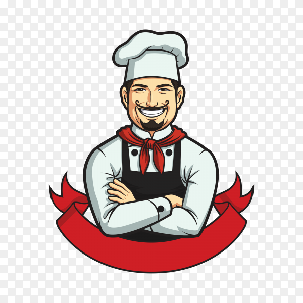 Chef logo template isolated on transparent background PNG
