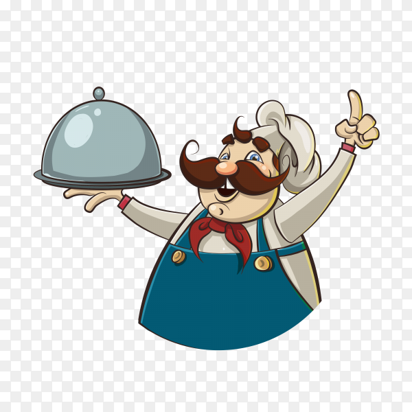 Chef man character hold dish premium vector PNG