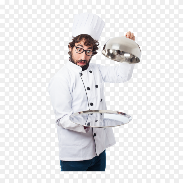 Chef with empty tray on transparent background PNG