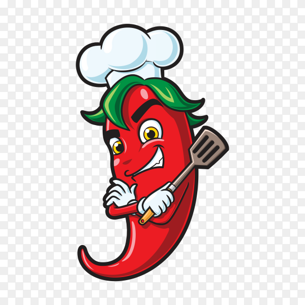 Chili chef cartoon character on transparent background PNG
