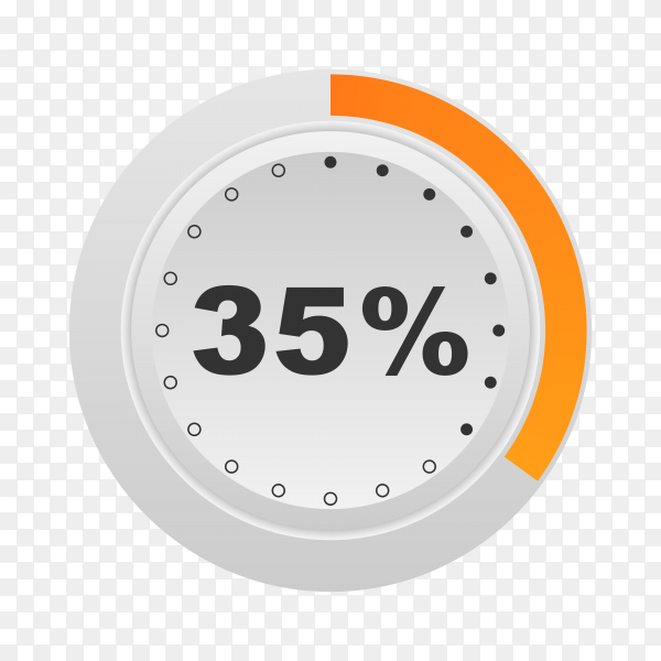 Circle percentage diagram showing 35% on transparent background PNG
