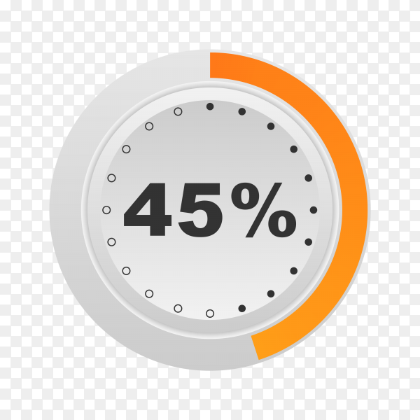 Circle percentage diagram showing 45% on transparent background PNG