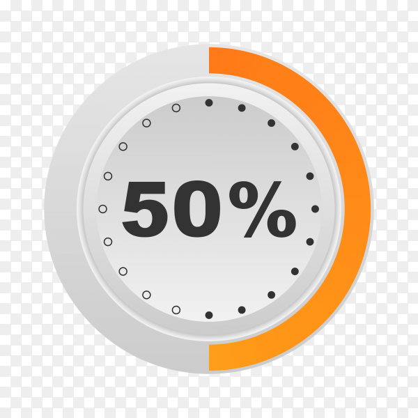 Circle percentage diagram showing 50% on transparent background PNG