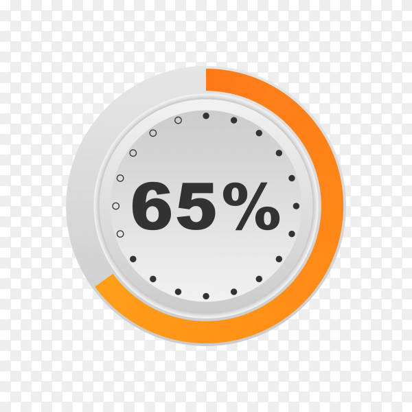 Circle percentage diagram showing 65% on transparent background PNG