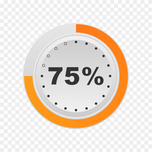 Circle percentage diagram showing 75% on transparent background PNG