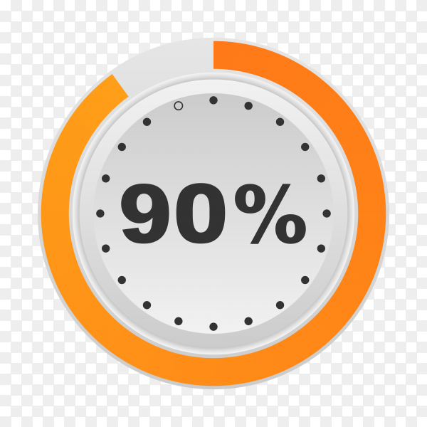 Circle percentage diagram showing 90% on transparent background PNG