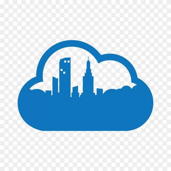 City skyline logo in blue cloud on transparent background PNG