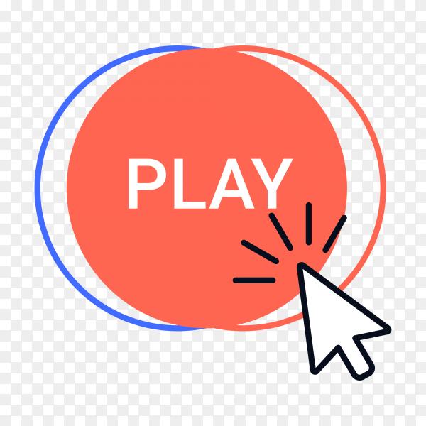 Click button. Cursor clicking, mouse arrow or hand pointer over button frame premium vector PNG