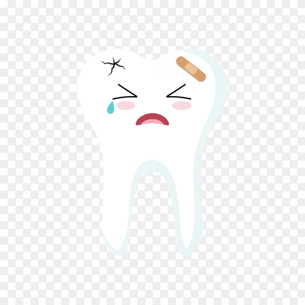 Close up of teeth icon character illustration on transparent background PNG.png