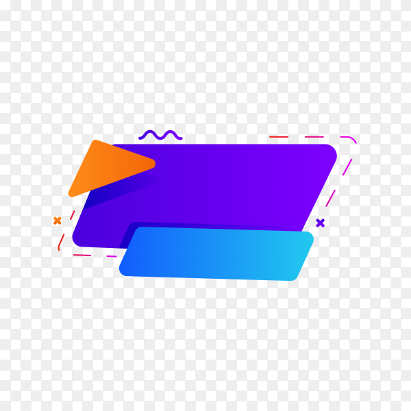 Colorful blank banner. abstract geometric shape on transparent background PNG