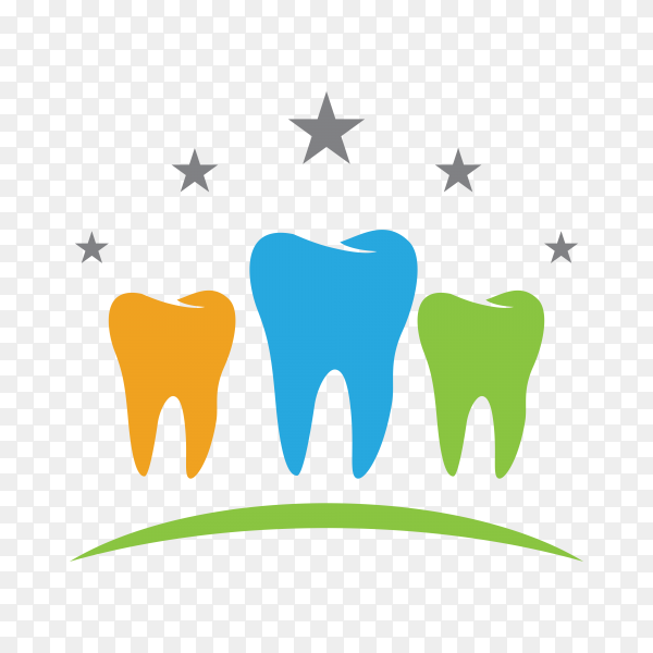 Colorful dental logo isolated on transparent background PNG.png