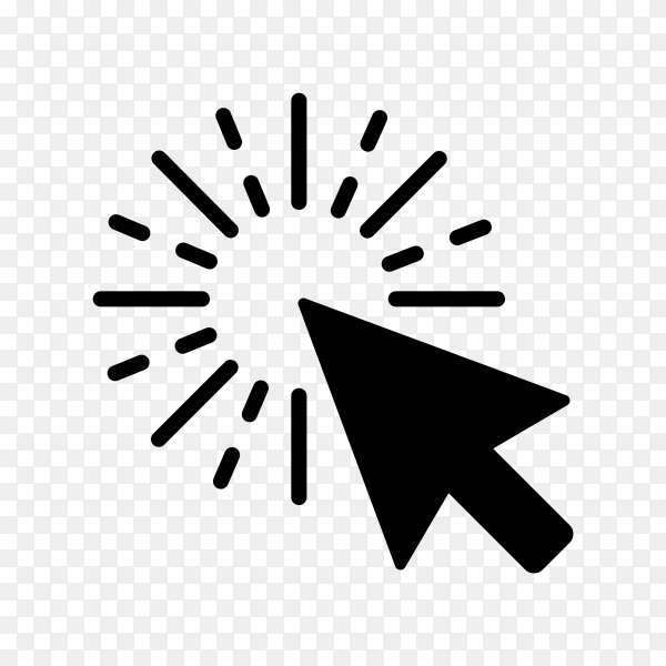 Computer mouse click cursor gray arrow icon on transparent background PNG