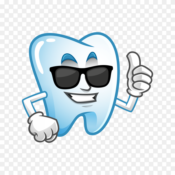 Cool thumb up tooth mascot wearing sunglasses, tooth character, tooth cartoon on transparent background PNG.png
