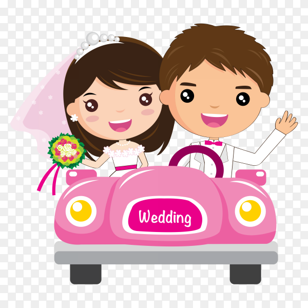Couple in wedding car on transparent background PNG