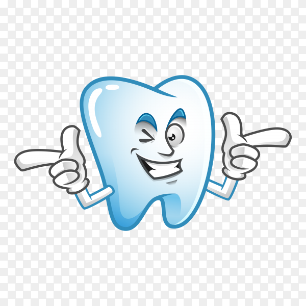 Cute Tooth mascot or character on transparent background PNG.png