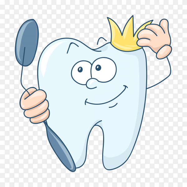 Cute cartoon healthy and beautiful tooth isolated on transparent background PNG.png