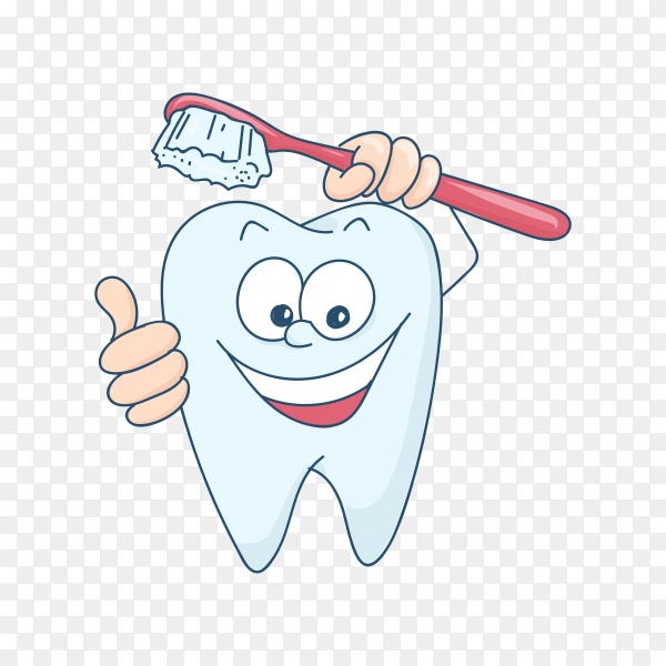 Cute cartoon healthy and beautiful tooth on transparent PNG.png