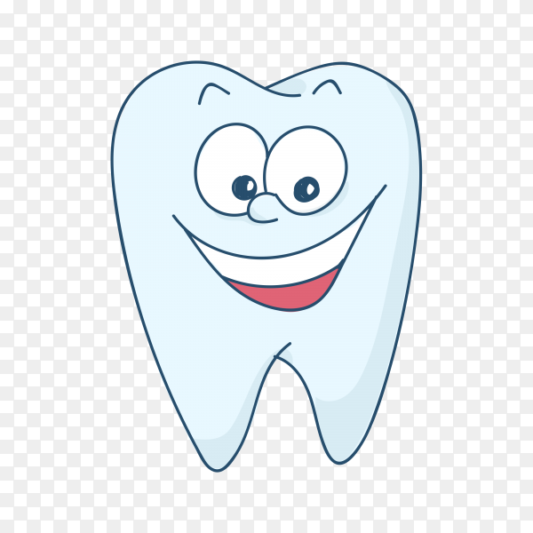 Cute cartoon healthy and beautiful tooth on transparent background PNG.png