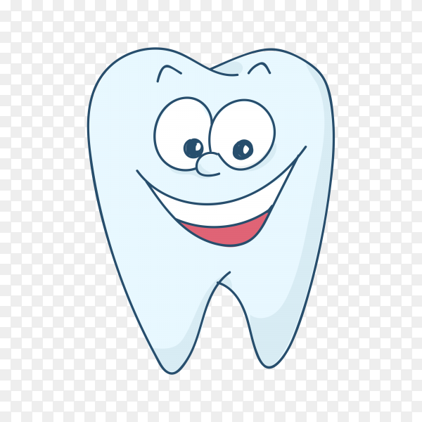 Cute cartoon healthy and beautiful tooth premium vector PNG.png