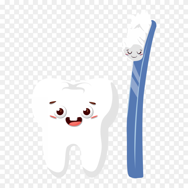 Cute cartoon teeth with toothbrush on transparent background PNG.png
